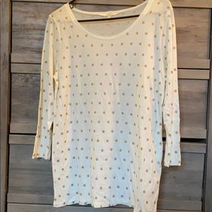 J. Crew Gold Polka Dot 3/4 Sleeve Shirt